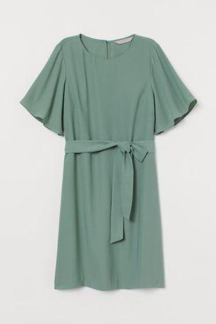 zielona sukienka z wiązanym paskiem, NOWA z metką, H&M, rozmiar 38