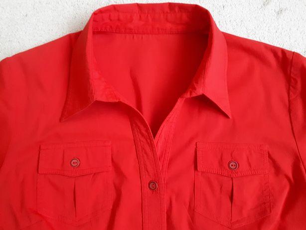 Bluzka czerwona, krótki rękaw, zapinana na guziczki stan idealny