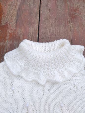 Белый вязаный свитер для девочки, рост 128