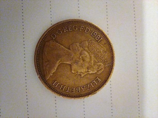 Moneta 2 new pence brąz 1981 Oryginał numizmatyka