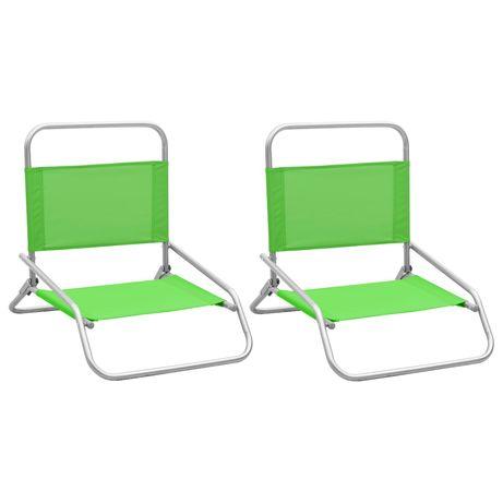 vidaXL Cadeiras de praia dobráveis 2 pcs tecido verde 310370