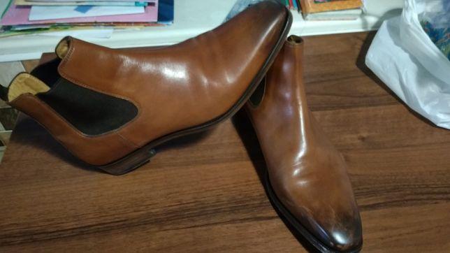 Демисезонные мужские сапоги, обувь, кожа.