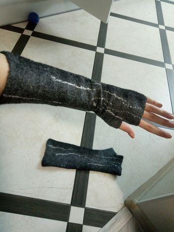 Митенки ручной работы, перчатки без пальцев