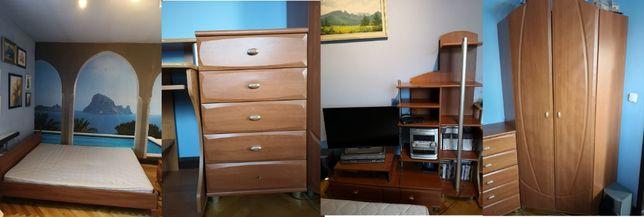 Meble komplet komody szafy łóżko z materacem