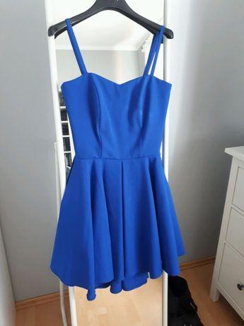 Sukienka kobaltowa niebieska 34 XS wesele
