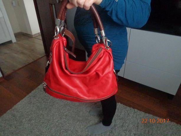 torebka włoska ze skóry naturalnej czerwona z brązem