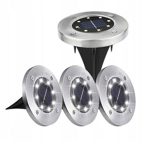 4 x Ogrodowe lampki solarne GRUNTOWE DISK LIGHT 8 LED