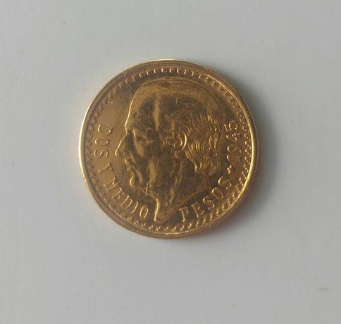 2 Pesos e Medio Mexicanos de 1945 em ouro