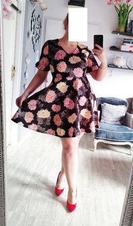 Nowa czarna sukienka w kwiaty 42 44 46