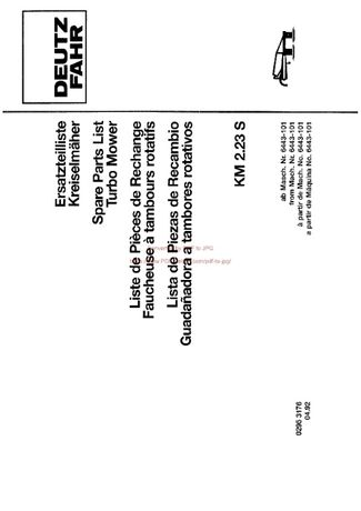 Katalog części kosiarka Deutz fahr KM 2. 23 S