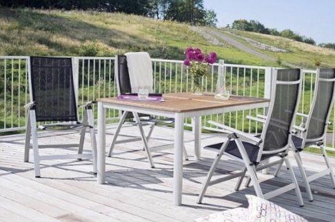 Meble ogrodowe aluminium drewno egzotyczne stół 4 fotele pozycyjne