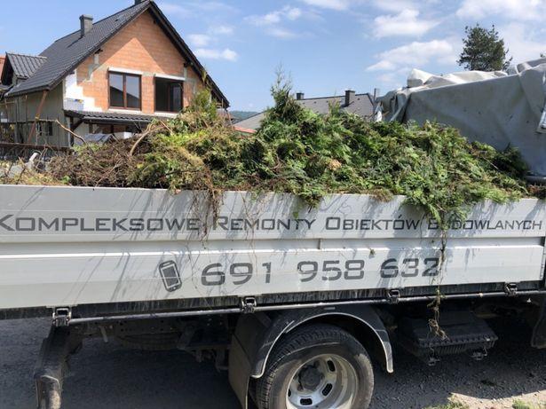 Wywóz odpadów zielonych biodegradowalnych gałęzi traw tuji drzew liści