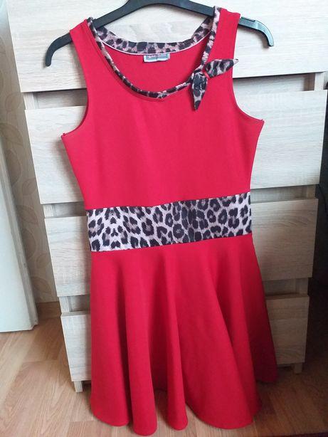 Czerwona sukienka S M panterka