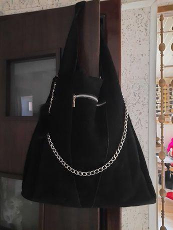 Torebka  torba  worek czarna zamsz ekologiczny