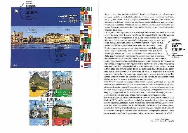 Pagela selos Lisboa 2017 sobrescrito 1º dia FDC