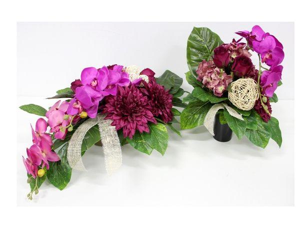 Stroik na grób duża WIĄZANKA + BUKIET łezka STORCZYK LUX fiolet i róż