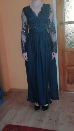 ANASTASIA - luksusowa suknia maxi z koronką i rozporkiem .