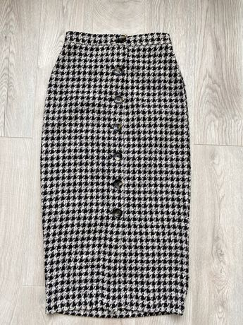 Zara спідниця юбка гусяча лапка миди