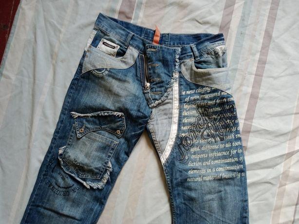 Мужские джинсы в комбинированной технике