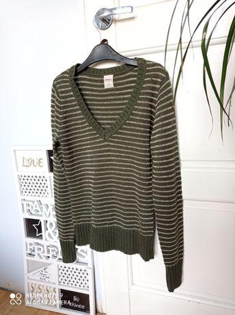 Only elegancki zielony butelkowy sweterek w szpic M 38 retro vintage