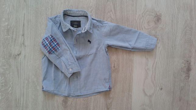 Koszula dla chłopca h&m 80 niebieska krata łokcie