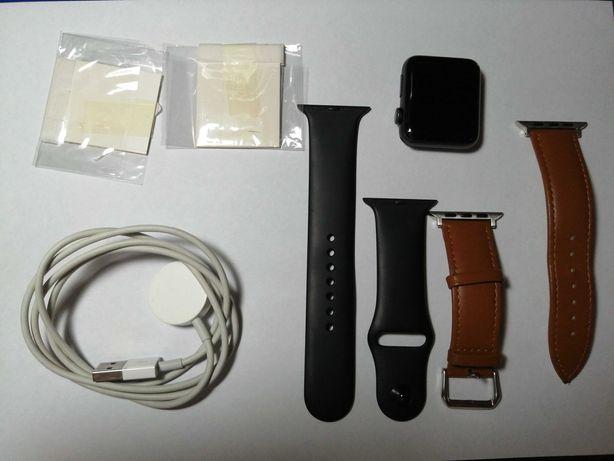 Apple watch series 3 42 mm + bracelete cabedal + 2 peliculas