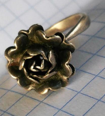 Кольцо советское Роза Серебро 875 звезда