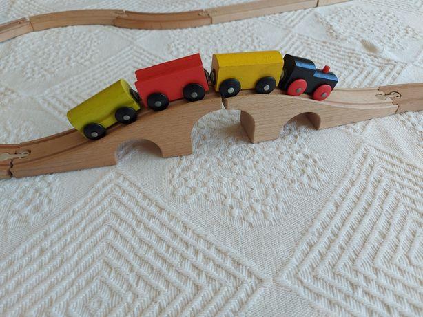 Pista em madeira  brinquedo didáctico