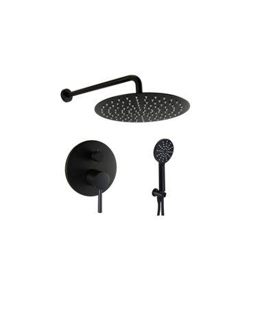 Zestaw prysznicowy podtynkowy czarny bateria deszczownica 20 25 30