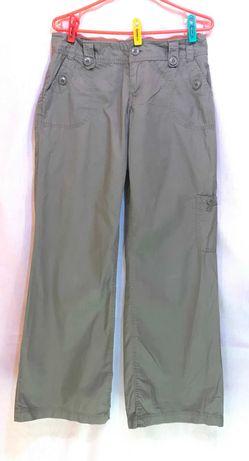 spodnie biodrówki reserved cienkie szerokie nogawki khaki l