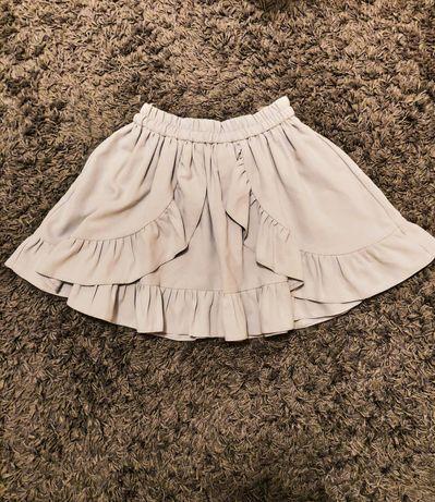 Szara rozkloszowana spódnica z falbankami
