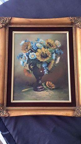 obraz na płótnie w złoconej ramie 40cm na 35 cm