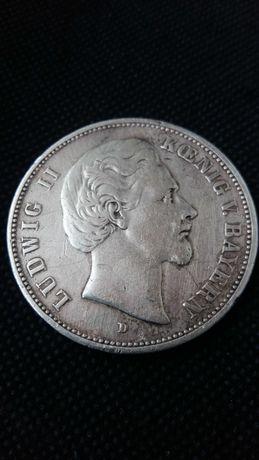 Moneta 5 marek srebra-srebro antyk BAYERN 1876 D .