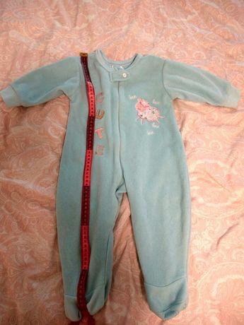 Пижамки-человечки теплые, флис, 12-24 мес