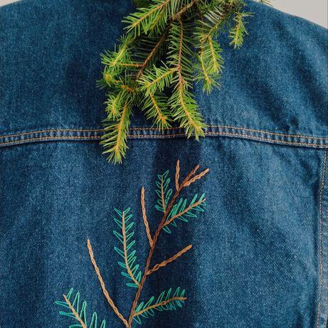 Kamizelka jeansowa denim, handmade haft