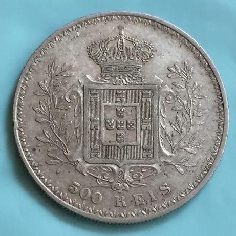 moeda 500 réis 1896 - D. Carlos I - prata