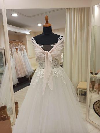 Szal chusta okrycie letnie narzutka ślubna na suknie ślubną pudrowy