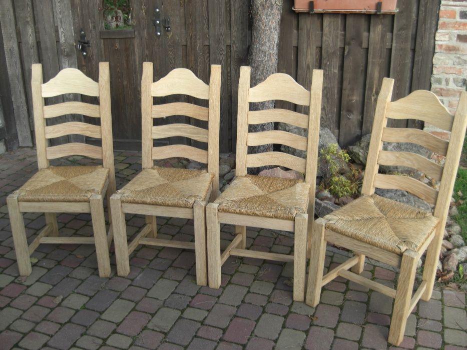 Krzesła dębowe piękne idealne stare surowe drewno Polkowice - image 1