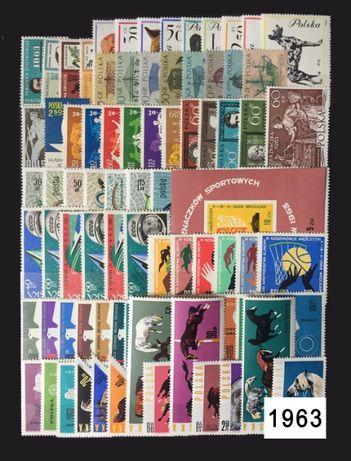 Znaczki pocztowe rocznik1963 czysty abonamentowy