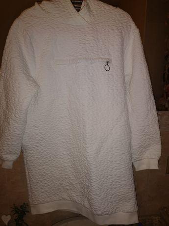Bluza biała z kapturem typu tunika Zara 140