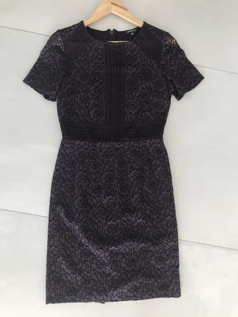 Elegancka sukienka z koronki Waren Hause śliwka 38