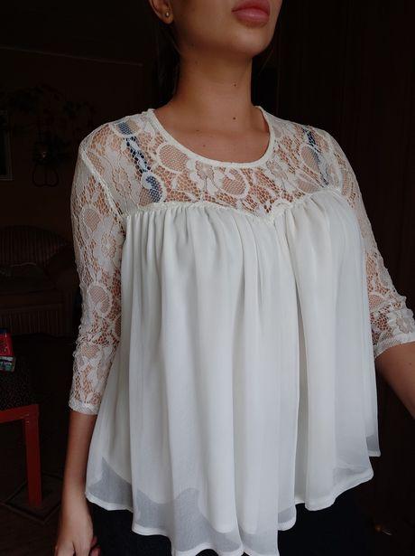 Блуза белая M L XL рубашка туника футболка майка кофта платье летняя