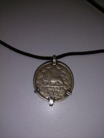 Старинная  уйгурская серебряная монета - подвеска.