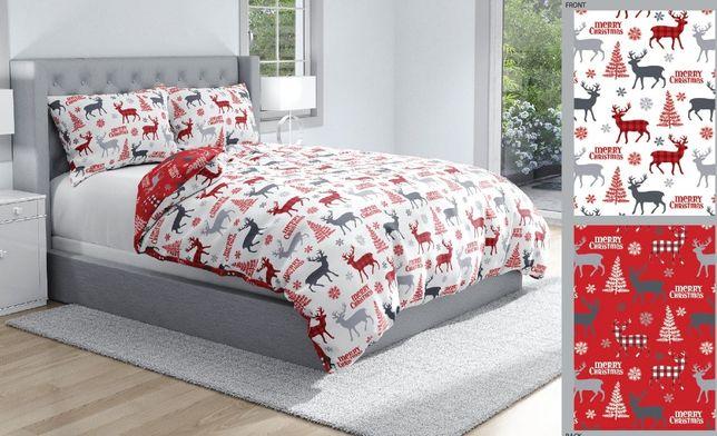 Pościel świąteczna RENIFERKI 160x200 bawełna 100% na prezent NOWOŚĆ
