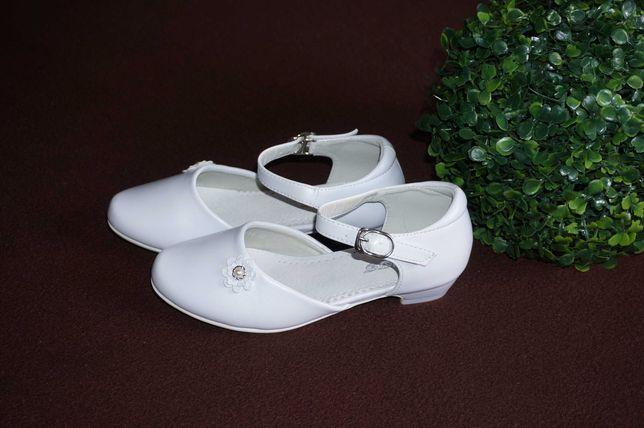 Białe BUTY 32, 33, 34, 35 komunijne baleriny pantofle sandały