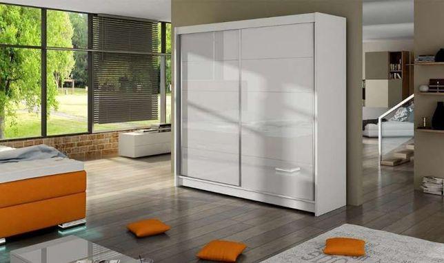 Szafa przesuwna garderoba 180 cm biała połysk sypialnia przedpokój HIT