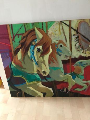 Obraz karuzela, konie 70 x 80
