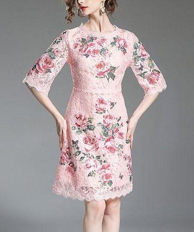 Nowa różowa koronkowa sukienka kwiaty elegancka zamek rękawy koronka