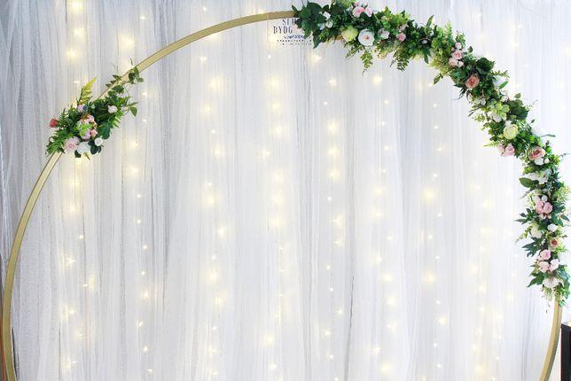 Girlanda z kwiatów sztucznych na ślub/wesele, ozdoba dekoracja ścianki