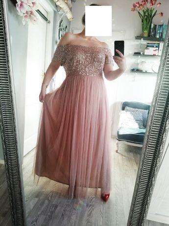 Sukienka maxi z tiulem 48 50